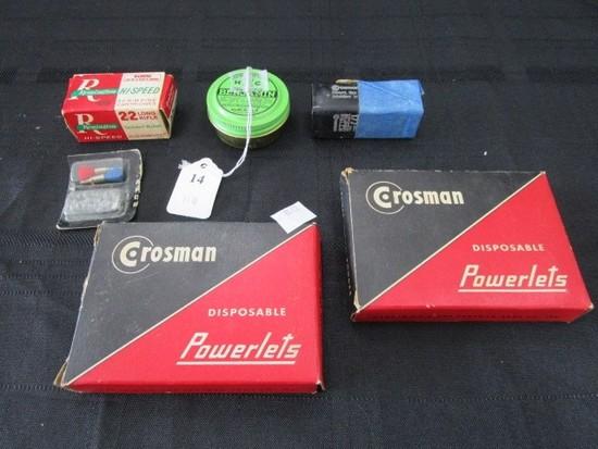 Lot - Remington Hi-Speed Cartridges 19, Crosman Disposable Powerlets