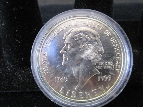 Collector Silver U.S. Commemorable Dollar Thomas Jefferson 1743-1993