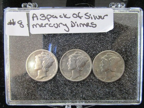 3 Pack of Silver Mercury Dimes 1945