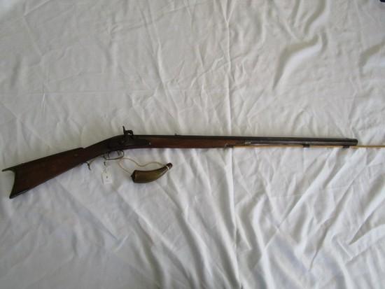Vintage/Antique Black Powder Rifle Wood Body, Metal Barrel, Curled Trigger
