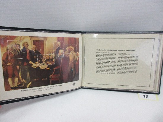 """Postmasters of America Set of 4 Bicentennial Souvenir Sheets 6"""" x 8"""" Special Issue"""