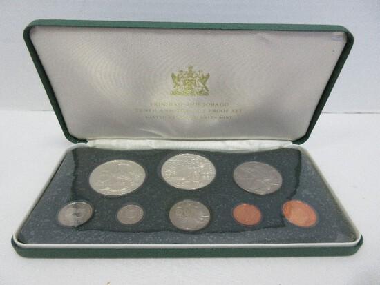 1973 Proof Set Coinage of Trinidad & Tobago w/ CoA 10th Anniversary