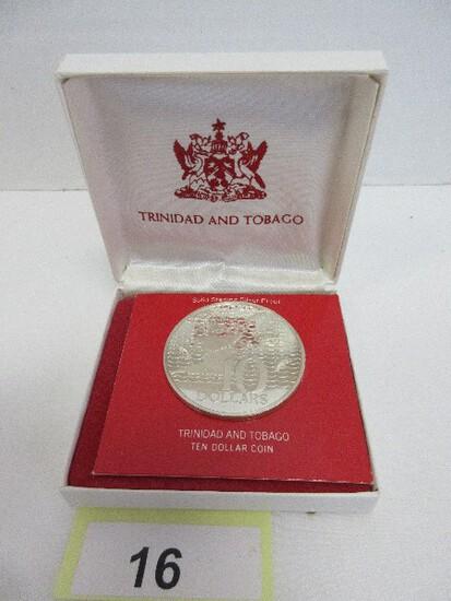 1963 Trinidad & Tobago Solid Sterling Silver Ten Dollar Proof Coin w/ CoA in Box