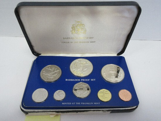 1975 Coinage of Barbados Proof Set w/ CoA by Franklin Mint in Case