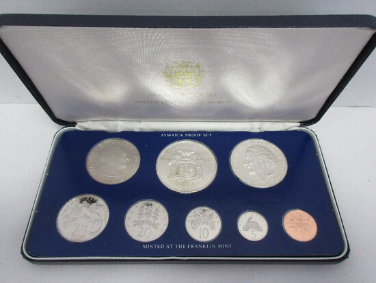 1975 Jamaica Coinage Proof Set w/ CoA by Franklin Mint in Case Ten Dollar Coin