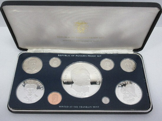 1975 Coinage of Panama Proof Set Minted at Franklin Mint w/ CoA in Case
