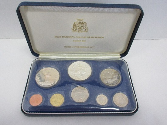 1973 First National Coinage of Barbados Proof Set Minted at Franklin Mint in Case w/ CoA