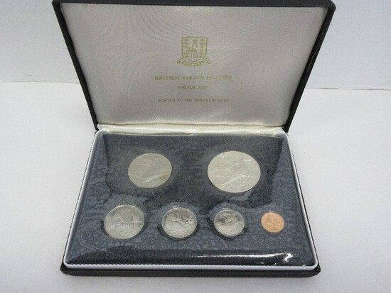 1974 Coinage of The British Virgin Islands Proof Set Minted at Franklin Mint w/ CoA