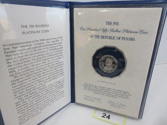 1976 Solid Platinum 9. 30 Grams 150 Balboas Proof Coin in Seal Cachet Franklin Mint