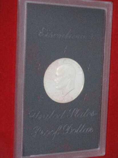 1971 Eisenhower United States Proof Dollar Coin Mint Marks in Case