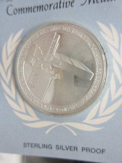 Sterling Silver Proof United Nations Official 25th Anniversary Commemorative Medal