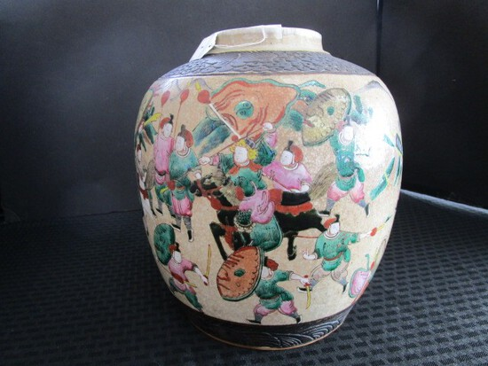 Antique Design Urn Stoneware Vase w/ Colorful Asian Battle Scene Motif & Cloud Motif Trim