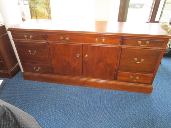 Hoosier Desks Mahogany Wood Office Side Board/Buffet 5 Drawers Dovetailed, 2 Filing Drawers