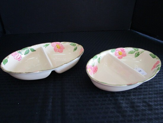Franciscan Earthenware Desert Rose Pattern 2 Divided Serving Dishes Oval