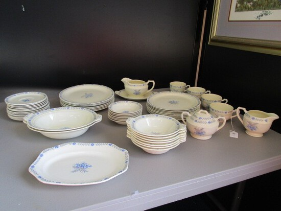 "Steubenville ""Sandra"" Ceramic Lot - Floral/Blue Bow Center, Blue Floral Band"