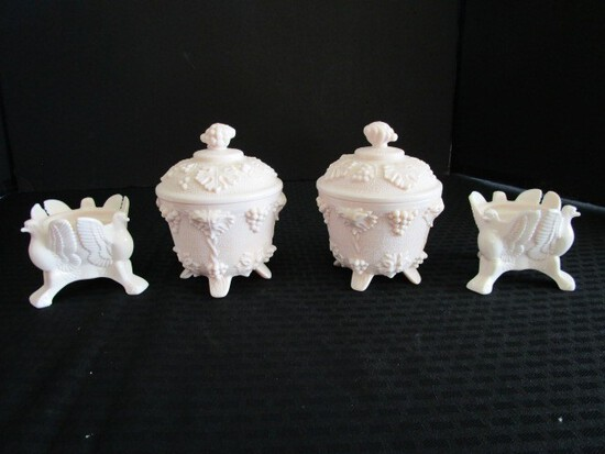 Lot - Pink Milk Glass 2 Eagle Corner Candle Holders, 2 Berry/Foliage Pattern Candy Dishes