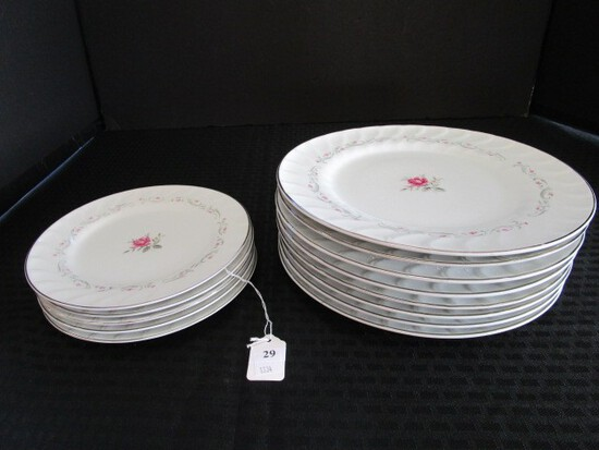"Royal Swirl Fine China Japan Rose Pattern Ceramic Lot - 8 Plates 10 1/4"", 5 Plates 7 1/2"" D"