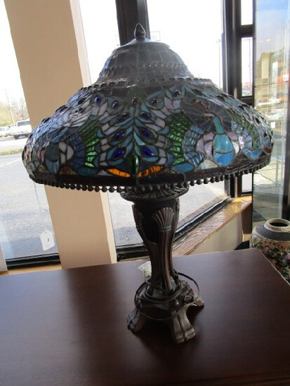 Tall Brown Metal Lamp w/ Tiffany-Style Slag Glass Shade, Shade Blue Peacock Pattern