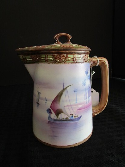 Nippon Hand Painted Pitcher w/ Lid w/ Nile/Egyptian Scene/Motif