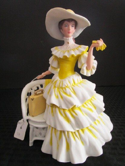 Avon Presidents Club Porcelain/Ceramic Figurine Yellow Dress 1990 'Mrs. P.F.E. Albee' Award