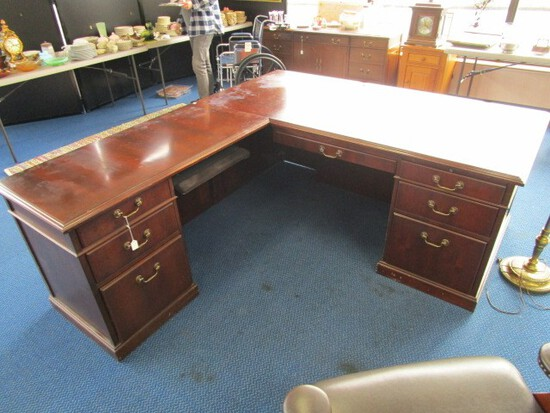 Kimball Wooden Corner Desk w/ 7 Drawers w/ Brass Pulls, Lock w/ Key w/ Attached Keyboard