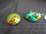 2 Vintage Japan Koyo Kinzoku Metal Ladybug/Beatle Toys