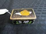 Small Black Metal Enamel Pink Floral Trim Snail Top Power Box