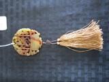 Carved Amber Jade Ornament Floral Motif w/ Tassels