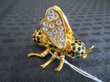 Bee Pin w/ Green Stone Eyes, Blue/Amber/Clear Stones