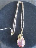 Dragon Clasp Pendant w/ Purple Glass Stone Center on Metal Necklace