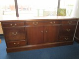 Hoosier Desks Mahogany Wood Office Side Board 5 Drawers Dovetailed, 2 Filing Drawers