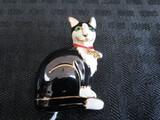 Enamel Sitting White/Black Cat Pin w/ Green Stone Eyes, White Stone Collar