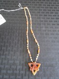 Craved Amber Jade Celtic Star Pendant on Bead Necklace