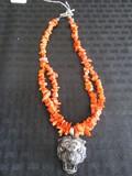 Clemson Tiger Head Pendant on Orange Bead Necklace