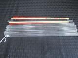 Lot - Glass Print Stirrers, Pair Asian Motif Chopsticks, Wood Veneer Chopsticks, Etc.