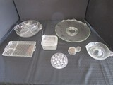 Glass Lot - Divided Round Dish, Lunch Plate, Juice Squeezer, Cake Plate, Etc.