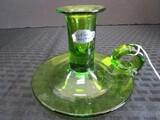 Blenko Hand Craft Green Glass Candle Holder w/ Dish/Handle
