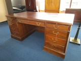 Hoosier Desks Wooden Office Desk 7 Dovetailed Drawers, 1 File Drawer, Brass Pulls