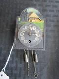 Vintage Miniature Hanging Pendulum Clock Country Scene Motif
