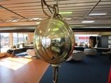 Hanging Vintage Brass Lamp w/ Wide Body Milk Glass Shade, Twist Rim, Scallop Motif Body
