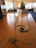 Hanging Brass Chandelier w/ Ornate Scallop Band w/ Urn Motif Top on Chain