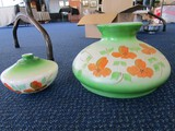Milk Glass Chandelier Shade w/ Green w/ Orange Floral Motif w/ Base Shade