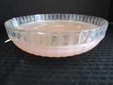Large Vintage Glass Shade Pink-To-Clear Ribbed w/ Raised Diamond Trim
