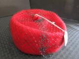 Vintage Red 100% Wool Ladies Sundays Hat w/ Black Mesh Top