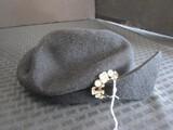 Vintage Glenover Henry Rollen Co. Black Beret Ladies Hat w/ Clear Stone Décor