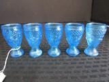 5 Blue Glass Cordial Glasses Hobnail/Foliage Motif