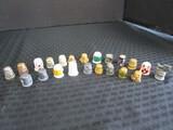 Thimble Lot - 4 Ceramic Clowns, Brass, Enameled Design, Etc. Total 22, 6 Pewter