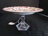 Raised Cake Plate Rose Pattern on Glass Pontil Base