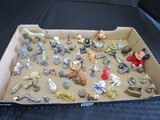 Miniature Décor Lot - Metal/Pewter Animals, Brass Dog, Ceramic Roosters, Etc.