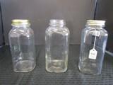 3 Glass Tall Canning Jars, 1 w/ Lid